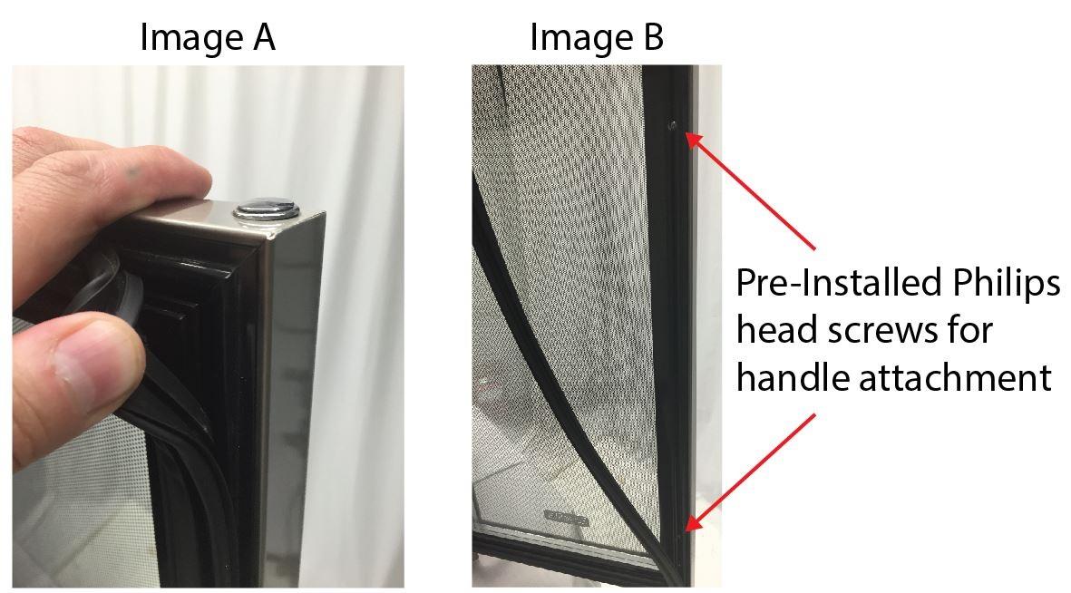 how do i install the door handle on my new edgestar wine or beverage